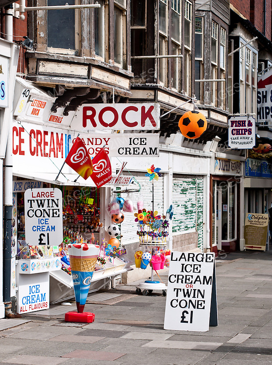 A colourful ice cream and rock shop in Southport Merseyside