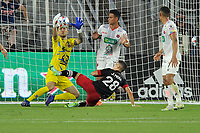 WASHINGTON, DC - JULY 7: Mauricio Vargas #18 of Liga Deportiva Alajuense saves a shot on goal against Joseph Mora #28 of D.C. United during a game between Liga Deportiva Alajuense  and D.C. United at Audi Field on July 7, 2021 in Washington, DC.