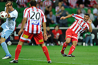 MELBOURNE, AUSTRALIA - FEBRUARY 12: John Aloisi of the Heart kicks a goal in the round 27 A-League match between the Melbourne Heart and Sydney FC at AAMI Park on February 12, 2011 in Melbourne, Australia. (Photo Sydney Low / AsteriskImages.com)