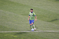 COLUMBUS, OH - DECEMBER 12: Cristian Roldan #7 of the Seattle Sounders FC plays the ball during a game between Seattle Sounders FC and Columbus Crew at MAPFRE Stadium on December 12, 2020 in Columbus, Ohio.