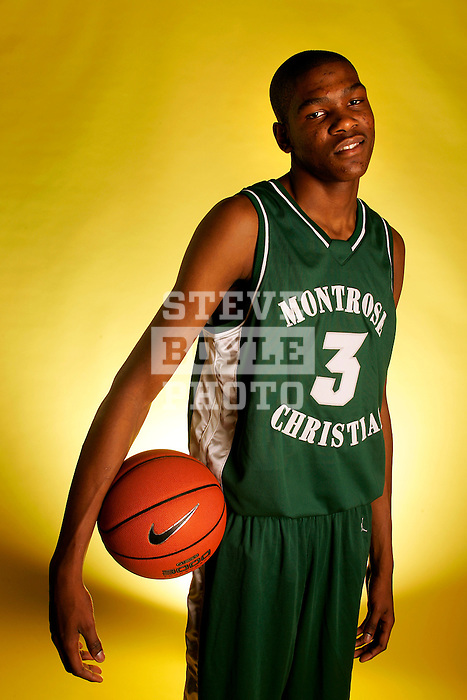 Montrose Christian basketball player Kevin Durant on November 25, 2005 in Rockville, Maryland.  Durant played college basketball at Texas before being drafted by the Seattle Supersonics as the second overall pick in the 2007 NBA Draft