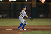 AZL Royals second baseman Kember Nacero (2) covers second base on a stolen base attempt during an Arizona League game against the AZL Giants Black at Scottsdale Stadium on August 7, 2018 in Scottsdale, Arizona. The AZL Giants Black defeated the AZL Royals by a score of 2-1. (Zachary Lucy/Four Seam Images)