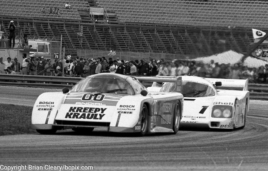 The #00 March-Porsche 83G of Sarel van der Merwe, Graham Duxbury and Tony Martin races to victory in the SunBank 24 at Daytona, Daytona International Speedway, Daytona Beach, FL, Feb. 4-5, 1984. (Photo by Brian Cleary/www.bcpix.com)