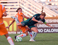 Saint Louis Athletica midfielder Lori Chalupny (17) and Sky Blue FC defender/midfielder Julianne Sitch (38) during a WPS match at Anheuser Busch Soccer Park, in St. Louis, MO, July 22 2009. Athletica won the match 1-0.