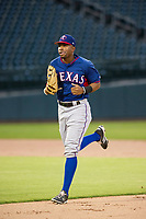 AZL Rangers left fielder Marcus Mack (2) jogs off the field between innings of the game against the AZL Cubs on July 24, 2017 at Sloan Park in Mesa, Arizona. AZL Cubs defeated the AZL Rangers 2-1. (Zachary Lucy/Four Seam Images)