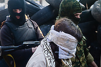 Reporter and Pro-Maidan Irma Krat is taken as hostage by pro-russian activists in Slavyansk city. Slavyansk, Ukraine. April 21, 2014