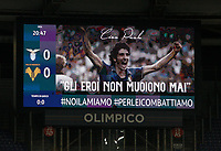 """A picture of late Italian player Paolo Rossi, who died on December 9, is seen on a screen during a minute of silence observed by Lazio and Hellas Verona teams in his memory, before the start of their Serie A soccer match at Rome's Olympic Stadium, December 12, 2020.  The sentence on the screen reads """"Heroes never die"""".<br /> UPDATE IMAGES PRESS/Riccardo De Luca"""