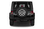 Straight rear view of a 2014 Jeep Wrangler Rubicon 5 Door SUV stock images