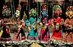 Colourful marionettes on street stall, Old Kathmandu, Nepal