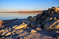 View the Salton Sea at dawn as seen from the Salton Sea State Recreation Area, Mecca, California.
