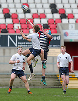 Wednesday 6th March 2019 | Ulster Schools Cup - Semi Final 2<br /> <br /> Ethan McIlroy and Harry McMeekin challenge for this high ball during the Ulster Schools Cup semi-final between MCB and Wallace High School at Kingspan Stadium, Ravenhill Park, Belfast, Northern Ireland. Photo by John Dickson / DICKSONDIGITAL