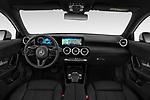 Stock photo of straight dashboard view of a 2019 Mercedes Benz A Class Progressive 5 Door Hatchback