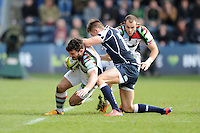 20130317 Copyright onEdition 2013©.Free for editorial use image, please credit: onEdition..George Lowe of Harlequins is tackled by Charlie Ingall of Sale Sharks during the LV= Cup Final between Harlequins and Sale Sharks at Sixways Stadium on Sunday 17th March 2013 (Photo by Rob Munro)..For press contacts contact: Sam Feasey at brandRapport on M: +44 (0)7717 757114 E: SFeasey@brand-rapport.com..If you require a higher resolution image or you have any other onEdition photographic enquiries, please contact onEdition on 0845 900 2 900 or email info@onEdition.com.This image is copyright onEdition 2013©..This image has been supplied by onEdition and must be credited onEdition. The author is asserting his full Moral rights in relation to the publication of this image. Rights for onward transmission of any image or file is not granted or implied. Changing or deleting Copyright information is illegal as specified in the Copyright, Design and Patents Act 1988. If you are in any way unsure of your right to publish this image please contact onEdition on 0845 900 2 900 or email info@onEdition.com