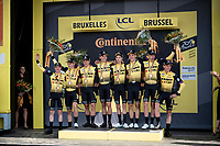 Last team to start is also the winning team at the finish; Team Jumbo-Visma wins the TTT and (almost) all of the jerseys > their post-finish joy is as high<br /> <br /> Stage 2 (TTT): Brussels to Brussels(BEL/28km) <br /> 106th Tour de France 2019 (2.UWT)<br /> <br /> ©kramon