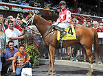 Lighthouse Bay (no. 4), ridden by Joseph Rocco Jr. and trained by George Weaver, wins the 11th running of the grade 1 Prioress Stakes for three year old fillies on July 27, 2013 at Saratoga Race Course in Saratoga Springs, New York.  (Bob Mayberger/Eclipse Sportswire)