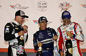 Takuma Sato, Rahal Letterman Lanigan Racing Honda, Ed Carpenter, Ed Carpenter Racing Chevrolet, Tony Kanaan, A.J. Foyt Enterprises Chevrolet celebrate on the podium