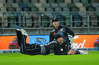 NZ's Glenn Phillips attempts a diving catch as Finn Allen looks on during the second International T20 cricket match between the New Zealand Black Caps and Bangladesh at McLean Park in Napier, New Zealand on Tuesday, 30 March 2021. Photo: Dave Lintott / lintottphoto.co.nz