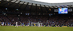 Fraser AIrd has his name up in lights on the giant screen after scoring the winning goal for Rangers