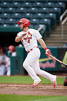 Springfield Cardinals third baseman Jacob Wilson (4) follows through on a swing during a game against the San Antonio Missions on June 4, 2017 at Hammons Field in Springfield, Missouri.  San Antonio defeated Springfield 6-1.  (Mike Janes/Four Seam Images)