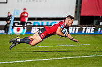 21st August 2020; Kingsholm Stadium, Gloucester, Gloucestershire, England; English Premiership Rugby, Gloucester versus Bristol Bears; Stephen Varney of Gloucester goes in for a try in the 72nd minute for 22-33