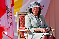 Livia Klausova, the wife of the Czech President Vaclav Klaus, listens to the speech of Pope Benedict XVI during the welcome ceremony at the Prague Airport, Czech Republic, 26 September 2009.