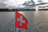 Swiss, Genève, September 14, 2015, Tennis,   Davis Cup, Swiss-Netherlands, Boat trip on lake Geneve<br /> Photo: Tennisimages/Henk Koster