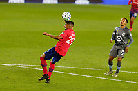 ST PAUL, MN - SEPTEMBER 9: Franco Jara #29 of FC Dallas heads the ball during a game between FC Dallas and Minnesota United FC at Allianz Field on September 9, 2020 in St Paul, Minnesota.