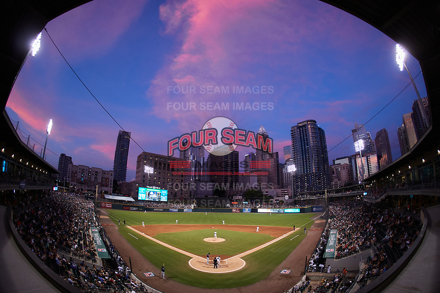 A wide angle view of Truist Field during the baseball game between the Nashville Sounds and the Charlotte Knights on June 4, 2021 in Charlotte, North Carolina. (Brian Westerholt/Four Seam Images)