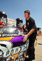 May 30, 2009; Topeka, KS, USA: NHRA pro stock driver Greg Stanfield during qualifying for the Summer Nationals at Heartland Park Topeka. Mandatory Credit: Mark J. Rebilas-