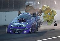 Feb 11, 2017; Pomona, CA, USA; NHRA funny car driver Jack Beckman during qualifying for the Winternationals at Auto Club Raceway at Pomona. Mandatory Credit: Mark J. Rebilas-USA TODAY Sports