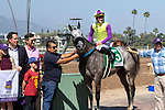 """ARCADIA, CA  May 28: #5 Hunt, ridden by Flavien Prat,with the connections in the winners circle after winning the Shoemaker Mile (Grade l), Breeders'Cup """"Win and You're in Mile Division"""" on May 28, 2018, at Santa Anita Park in Arcadia, CA.  (Photo by Casey Phillips/Eclipse Sportswire/Getty Images)"""