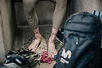 tradition: washing all the mud off in the famous Roubaix showers<br /> <br /> 118th Paris-Roubaix 2021 (1.UWT)<br /> One day race from Compiègne to Roubaix (FRA) (257.7km)<br /> <br /> ©kramon