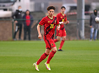 Chemsdine Talbi (20) of Belgium pictured in action during a soccer game between the national teams Under17 Youth teams of  Norway and Belgium on day 3 in the Qualifying round in group 3 on Tuesday 12 th of October 2020  in Tubize , Belgium . PHOTO SPORTPIX   DAVID CATRY