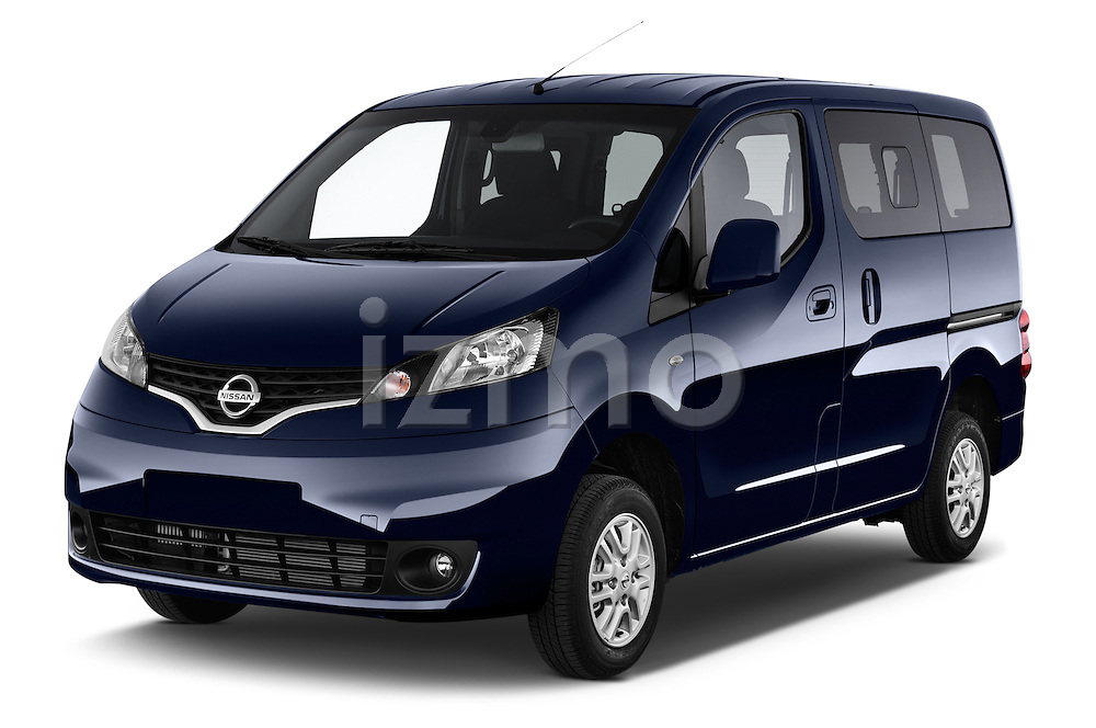 2014 Nissan Evalia Connect Edition 5 Door Mini MPV 2WD Angular Front stock photos of front three quarter view