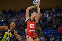 Tactix' Ellie Bird takes a pass during the ANZ Premiership netball match between Central Pulse and Mainland Tactix at Te Rauparaha Arena in Wellington, New Zealand on Friday, 9 July 2021. Photo: Dave Lintott / lintottphoto.co.nz