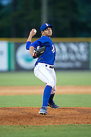 Burlington Royals relief pitcher Andre Davis (44) in action against the Danville Braves at Burlington Athletic Park on July 12, 2015 in Burlington, North Carolina.  The Royals defeated the Braves 9-3. (Brian Westerholt/Four Seam Images)