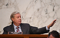 United States Senator Lindsey Graham (Republican of South Carolina), speaks during a Senate Judiciary Committee confirmation hearing on the nomination of Amy Coney Barrett for Associate Justice of the Supreme Court, on Capitol Hill in Washington, DC on Thursday, October 15, 2020.  If confirmed, Barrett will replace Justice Ruth Bader Ginsburg, who died last month.   <br /> Credit: Kevin Dietsch / Pool via CNP /MediaPunch