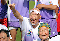 Pictured: An 85 year old Japanese man who still enjoys playing rugby in Cardiff, Wales, UK. Wednesday 24 August 2016<br /> Re: The largest rugby scrum has been achieved by Golden Oldies at University Fields in Cardiff south Wales, UK. It was refereed by welsh international referee Nigel Owens. Guinness World Records has verified the new record in which 1297 people took part in.