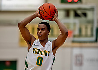 18 December 2019: University of Vermont Catamount Guard Stef Smith, a Junior from Ajax, Ontario in first half action against the UNC Greensboro Spartans at Patrick Gymnasium in Burlington, Vermont. The Spartans edged out the Catamounts 54-53 in the final minutes of play. Mandatory Credit: Ed Wolfstein Photo *** RAW (NEF) Image File Available ***
