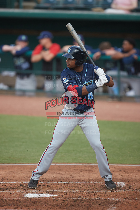 Yasel Antuna (8) of the Wilmington Blue Rocks at bat against the Greensboro Grasshoppers at First National Bank Field on May 25, 2021 in Greensboro, North Carolina. (Brian Westerholt/Four Seam Images)