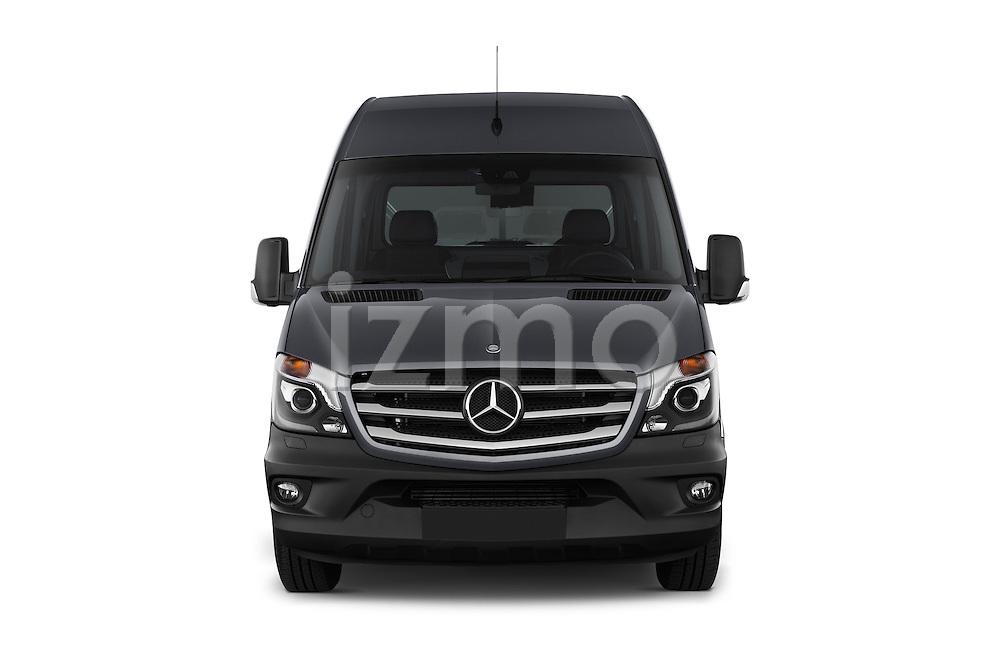 Car photography straight front view of a 2016 Mercedes Benz Sprinter-Cargo-Van 2500-144-WB-High-Roof 4 Door Cargo Van Front View