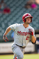Memphis Redbirds outfielder Randal Grichuk (21) AAA during the first game of a Pacific Coast League doubleheader against the Round Rock Express on August 3, 2014 at the Dell Diamond in Round Rock, Texas. The Redbirds defeated the Express 4-0. (Andrew Woolley/Four Seam Images)