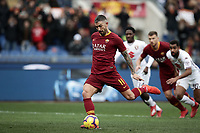 Football, Serie A: AS Roma - Torino, Olympic stadium, Rome, January 19, 2019. <br /> Roma's Aleksandar Kolarov kicks a penalty and scores during the Italian Serie A football match between AS Roma and Torino at Olympic stadium in Rome, on January 19, 2019.<br /> UPDATE IMAGES PRESS/Isabella Bonotto