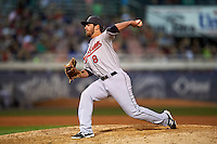 New Britain Rock Cats pitcher Sam Moll (8) delivers a pitch during a game against the Reading Fightin Phils on August 7, 2015 at FirstEnergy Stadium in Reading, Pennsylvania.  Reading defeated New Britain 4-3 in ten innings.  (Mike Janes/Four Seam Images)