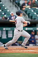 Scranton/Wilkes-Barre RailRiders catcher Erik Kratz (36) follows through on a swing during a game against the Buffalo Bisons on May 18, 2018 at Coca-Cola Field in Buffalo, New York.  Buffalo defeated Scranton 5-1.  (Mike Janes/Four Seam Images)