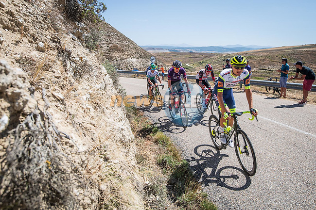 The breakaway led by Rein Taaramäe (EST) Intermarché-Wanty-Gobert Matériaux during Stage 3 of La Vuelta d'Espana 2021, running 202.8km from Santo Domingo de Silos to Picon Blanco, Spain. 16th August 2021.    <br /> Picture: Unipublic/Charly Lopez   Cyclefile<br /> <br /> All photos usage must carry mandatory copyright credit (© Cyclefile   Unipublic/Charly Lopez)
