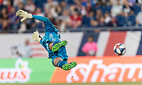 FOXBOROUGH, MA - JULY 28: Matt Turner #30 dives for wide shot during a game between Orlando City SC and New England Revolution at Gillette Stadium on July 27, 2019 in Foxborough, Massachusetts.