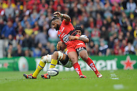 Mathieu Bastareaud of RC Toulon is tackled off the ball by Sébastien Vahaamahina of ASM Clermont Auvergne