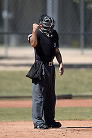 Umpire Dan Merzel during an Instructional League game between the Cleveland Indians and NC Dinos on October 12, 2013 at Camelback Ranch Complex in Glendale, Arizona.  (Mike Janes/Four Seam Images)