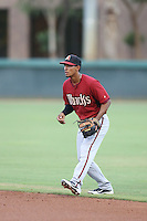 Alvaro Rondon (3) of the AZL Diamondbacks in the field during a game against the AZL Dodgers at the Los Angeles Dodgers Spring Training Complex on July 3, 2015 in Glendale, Arizona. Diamondbacks defeated the Dodgers, 5-1. (Larry Goren/Four Seam Images)